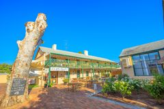 Settlers Hotel York. York, Australia - Dec 25, 2017: courtyard of Settlers House Hotel with some of accommodation units in York, oldest and first inland Royalty Free Stock Photo