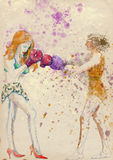 Settling - Women in dispute. Boxing match - two cute ladies. Full-sized (original) hand drawing (useful for converting live trace for the  image - and others) Stock Photos