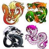 Setu cztery koloru pomysłowo Azjatycki smok Obraz Royalty Free