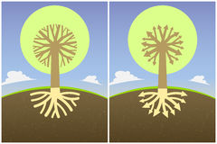 Setu dwa abstrakcjonistyczny drzewny diagram z gałąź korzenie w postaci strzała i korony, Zdjęcie Stock