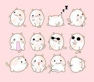 Setu 12 koty z różnymi emocjami handmade Śliczny emoticon kot Zdjęcie Stock