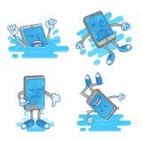 Setu mokry smartphone ilustracji