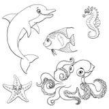 Setu pięć morskiego zwierzęcia czerni śliczny kontur Fotografia Royalty Free