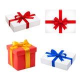 setu pudełkowaty wierzchołek Piękny prezenta pudełko odizolowywający Zdjęcia Royalty Free