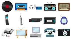 Setu stara retro rocznika modnisia technologia, elektronika winylu, audio i wideo kasety taśmy pisaka TV gemowa konsola, muzyczna zdjęcia stock