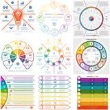 Setu 9 szablonów Infographics cykliczni procesy osiem pozycj Fotografia Royalty Free