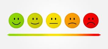 Setu 5 twarze ważą odosobnioną wektorową ilustrację - uśmiecha się neutralny smutnego - Fotografia Royalty Free