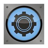 Setup button on the steel plate for your use Royalty Free Stock Photography