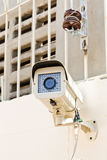 Setup cctv camera. On wall Royalty Free Stock Photo