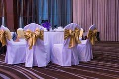 Setup decoration of wedding banquet Royalty Free Stock Photos