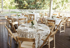 Setup for outdoor fine dining Stock Image