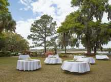 Setup for outdoor wedding reception Royalty Free Stock Image
