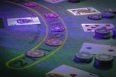 Setup for playing Blackjack at the Casino royalty free stock photography