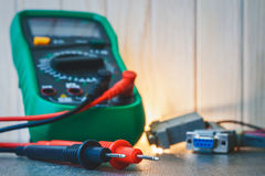 Setup, repair of electronic equipment. Develop or hobby-related electronics. Setup, repair of electronic equipment. Develop or hobby-related Royalty Free Stock Images
