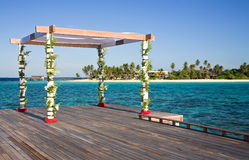 Setup for tropical beach wedding stock photo