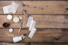 Setup from various pill bottles an blister pack Royalty Free Stock Photo