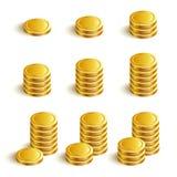 SetVectorIconsGoldCoins. Set Vector Icons Gold Coins Stock Photos