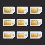 SetVectorsSimImage. Set a collection of vector graphics chip simcard Royalty Free Stock Image
