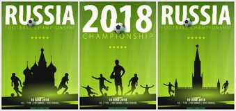 Sety of Football or Soccer design posters with hand draw doodle elements and football player silhouette. Soccer championship. Sety of Football or Soccer design Stock Photography