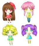 Sety Japoński SD dziewczyny gang, tworzą wektorem Zdjęcia Stock
