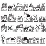 Sety malujący domy Obrazy Stock