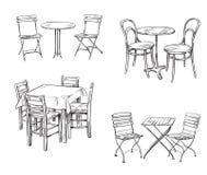 Sety stoły i krzesła Meblarski nakreślenie ilustracja wektor