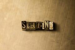 SETZEN - Nahaufnahme der grungy Weinlese setzte Wort auf Metallhintergrund Lizenzfreie Stockbilder