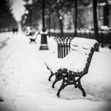 Setzen Sie auf die Bank, bedeckt mit Schnee, die Stadt Lizenzfreie Stockfotos