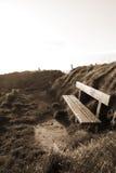 Setzen Sie auf einem Klippenrand bei Sonnenuntergang im Sepia auf die Bank Stockbilder