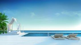 Setzen Sie Aufenthaltsraum, Sonne longers auf ein Sonnenbad nehmender Plattform und privaten Swimmingpool mit panoramischer See-A lizenzfreie abbildung