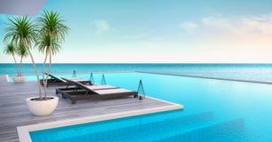 Setzen Sie Aufenthaltsraum, Sonnenruhesessel auf ein Sonnenbad nehmender Plattform und privaten Swimmingpool mit panoramischer Se lizenzfreie abbildung