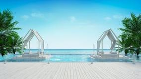 Setzen Sie Aufenthaltsraum und panoramische Seeansicht an Luxuslandhaus/3d-Wiedergabe auf den Strand lizenzfreie abbildung