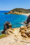 Setzen Sie bei Vai mit schönem Palmenwald auf Ost-Kreta auf den Strand Lizenzfreies Stockbild