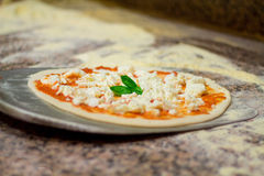 Setzen Sie an das Blatt die italienische Pizza Lizenzfreie Stockfotografie