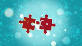 Setzen Sie das Puzzlespiel zu China- und Türkei-Flagge Stock Abbildung
