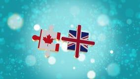 Setzen Sie das Puzzlespiel zu Kanada und zur britischen Flagge Lizenzfreie Abbildung