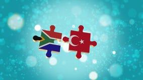 Setzen Sie das Puzzlespiel zu Südafrika- und Türkei-Flagge Vektor Abbildung