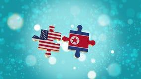 Setzen Sie das Puzzlespiel zu USA und zu Nordkorea-Flagge Lizenzfreie Abbildung