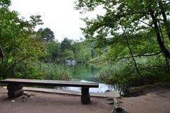 Setzen Sie das Schauen in grünen See und in beruhigende Landschaft auf die Bank Stockfotos