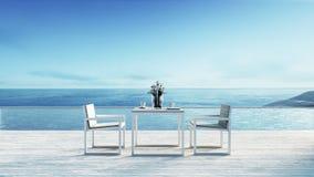 Setzen Sie das Speisen u. Seewiedergabe ansicht/3d auf den Strand Stockfotografie