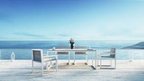 Setzen Sie das Speisen u. Seewiedergabe ansicht/3d auf den Strand Lizenzfreie Stockbilder