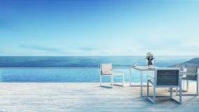 Setzen Sie das Speisen u. Seewiedergabe ansicht/3d auf den Strand Lizenzfreie Stockfotos