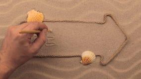 SETZEN Sie die Aufschrift auf den Strand, die eigenhändig auf den Sand, in den Zeiger geschrieben wird, der vom Seil gemacht wird stock video