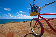 Setzen Sie die Fahrrad- und Swimflossen auf den strand, die den Ozean übersehen Lizenzfreies Stockfoto