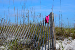 Setzen Sie die Schwimmenschuhe auf den strand, die auf Zaun an Florida-Stränden trocknen Lizenzfreies Stockbild