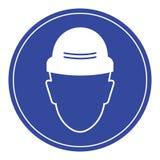 Setzen Sie einen Sicherheitshut, erforderliches Sicherheitszeichen stockfoto