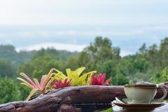 Setzen Sie einen Tasse Kaffee auf den Balkon Lizenzfreie Stockfotos