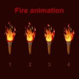 Setzen Sie Feueranimationselfen, Flammenvideorahmen in Brand Stockbild
