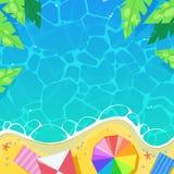 Setzen Sie gestreifte Regenschirme durch das Meer, Draufsichtvektorillustration auf den Strand Sommerferien, Reise und Ferienkonz vektor abbildung