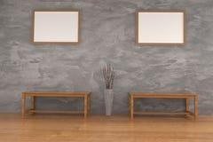 Setzen Sie hölzernen Stuhl im konkreten Raum mit Spott herauf Rahmenfoto in der Wiedergabe 3D auf die Bank Stockbild
